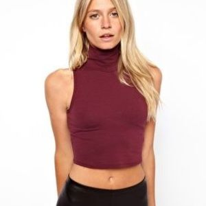 ASOS High mock neck maroon sleeveless crop top